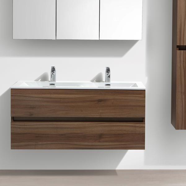 Meuble salle de bain design double vasque SIENA largeur 120 cm, noyer - Meuble De Salle De Bain Sans Vasque