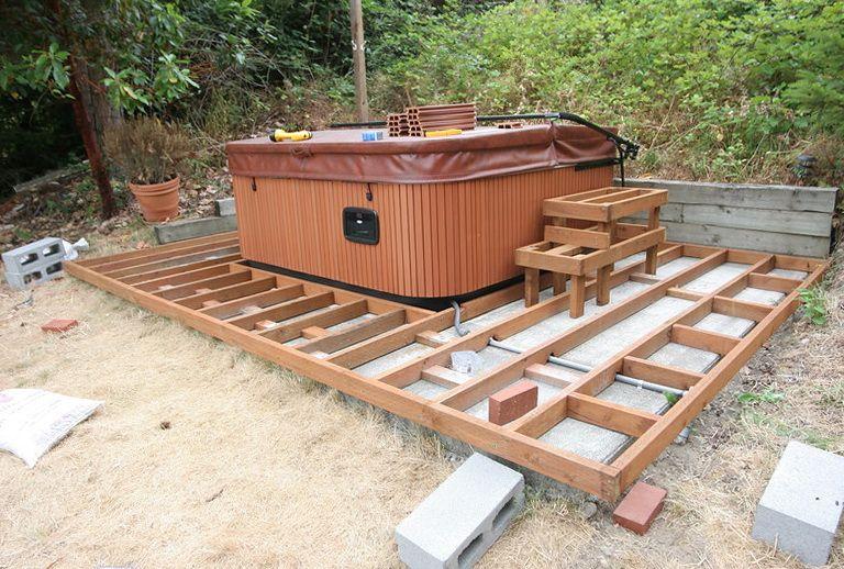 Hot Tub On Raised Deck Hot Tub Landscaping Hot Tub Deck Diy