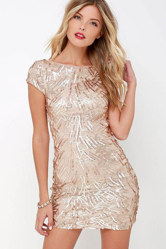 Live the life of a leading lady when you make your debut in the Callback Gold  Sequin Bodycon Dress! Shining matte gold sequins dance over beige mesh as  it ... 17aad42eb