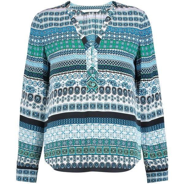 DIANE VON FURSTENBERG Arden printed stretch-silk blouse (250 AUD) ❤ liked on