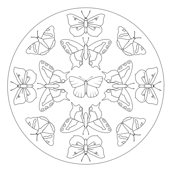 Butterfly Mandala 2 Insect Coloring Pages Mandala Mandala Coloring Pages