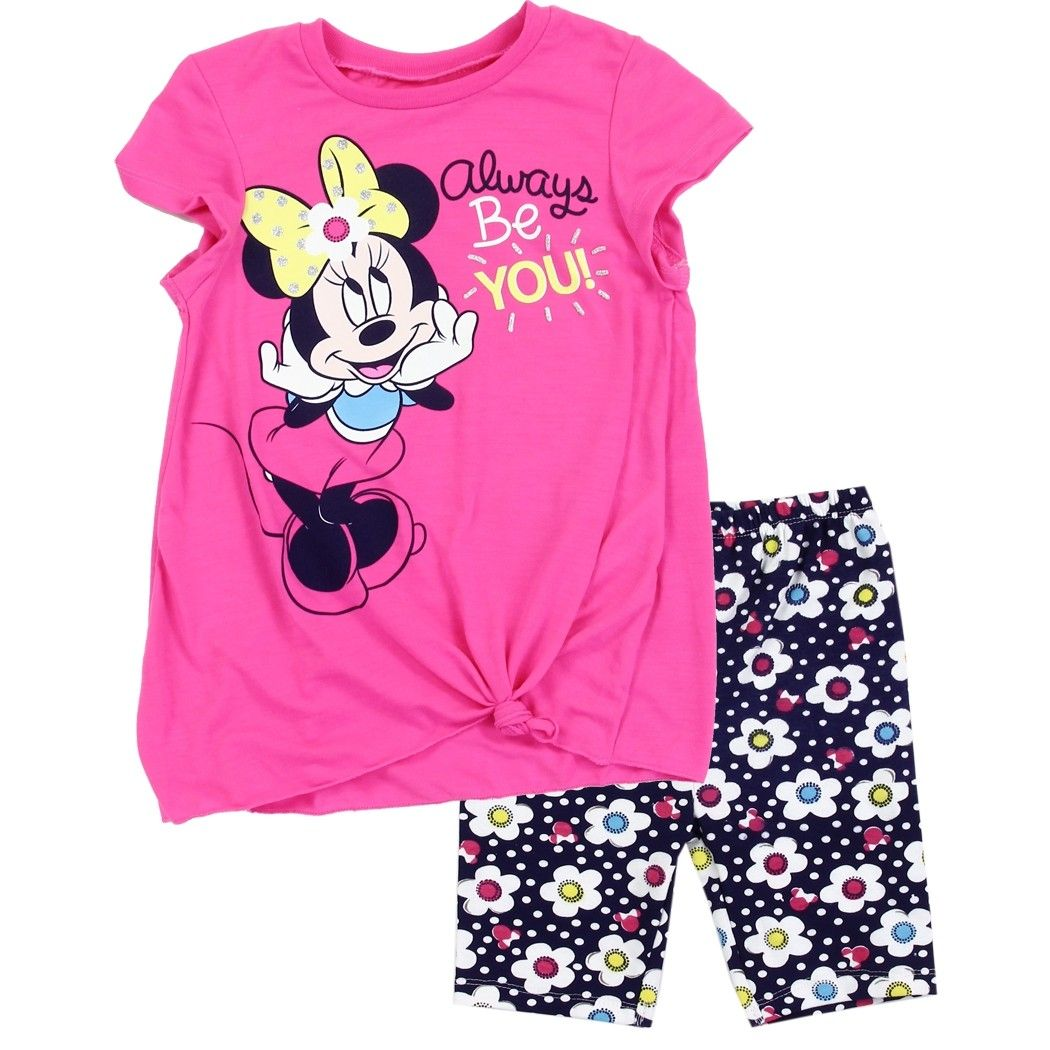 Shirt and Short Minnie Mouse Toddler Little Girls Love Smile 2PC Set