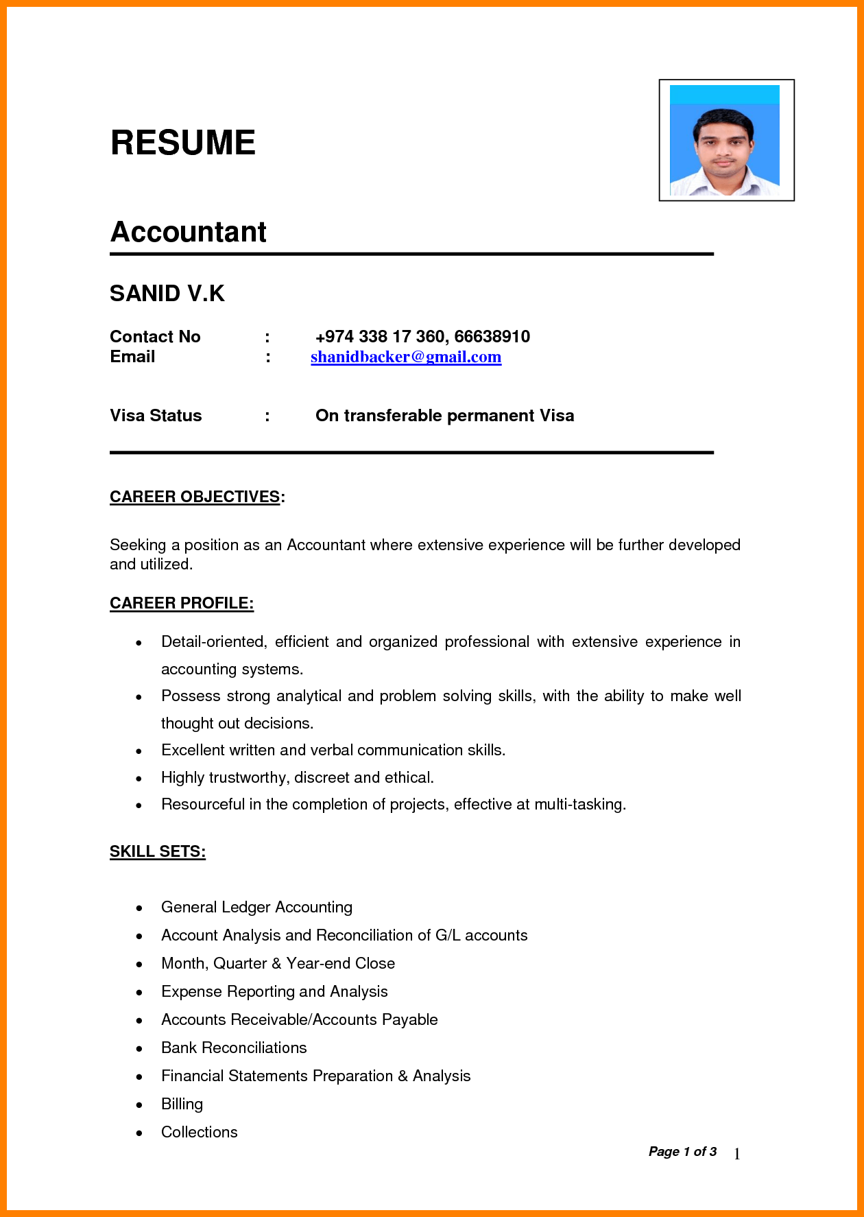 Curriculum Vitae Format Pdfdian Chef Resume Sample For Job