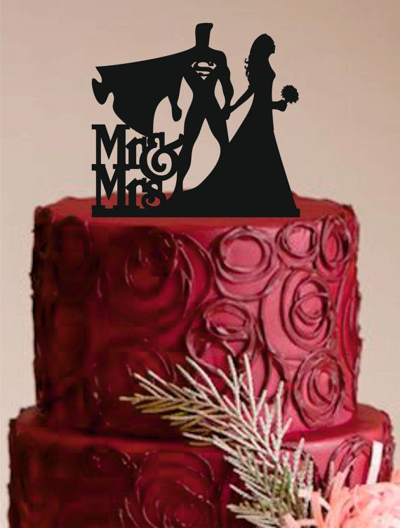 Bride And Groom Wedding Cake Topper Superman Custom Personalized