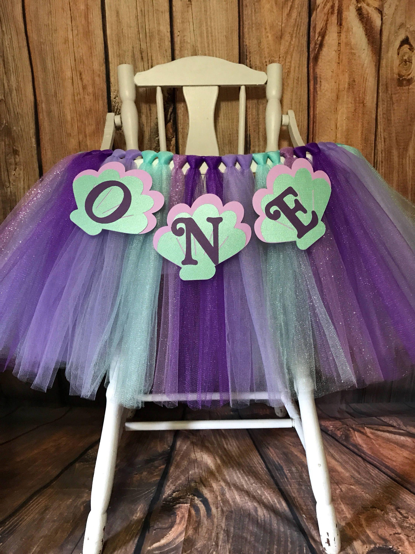 f39df200adf68 Little Mermaid High Chair Tutu- High Chair Skirt-Highchair tutu- Highchair  skirt Teal and Lavender High chair Banner- Will Custom Make by ...