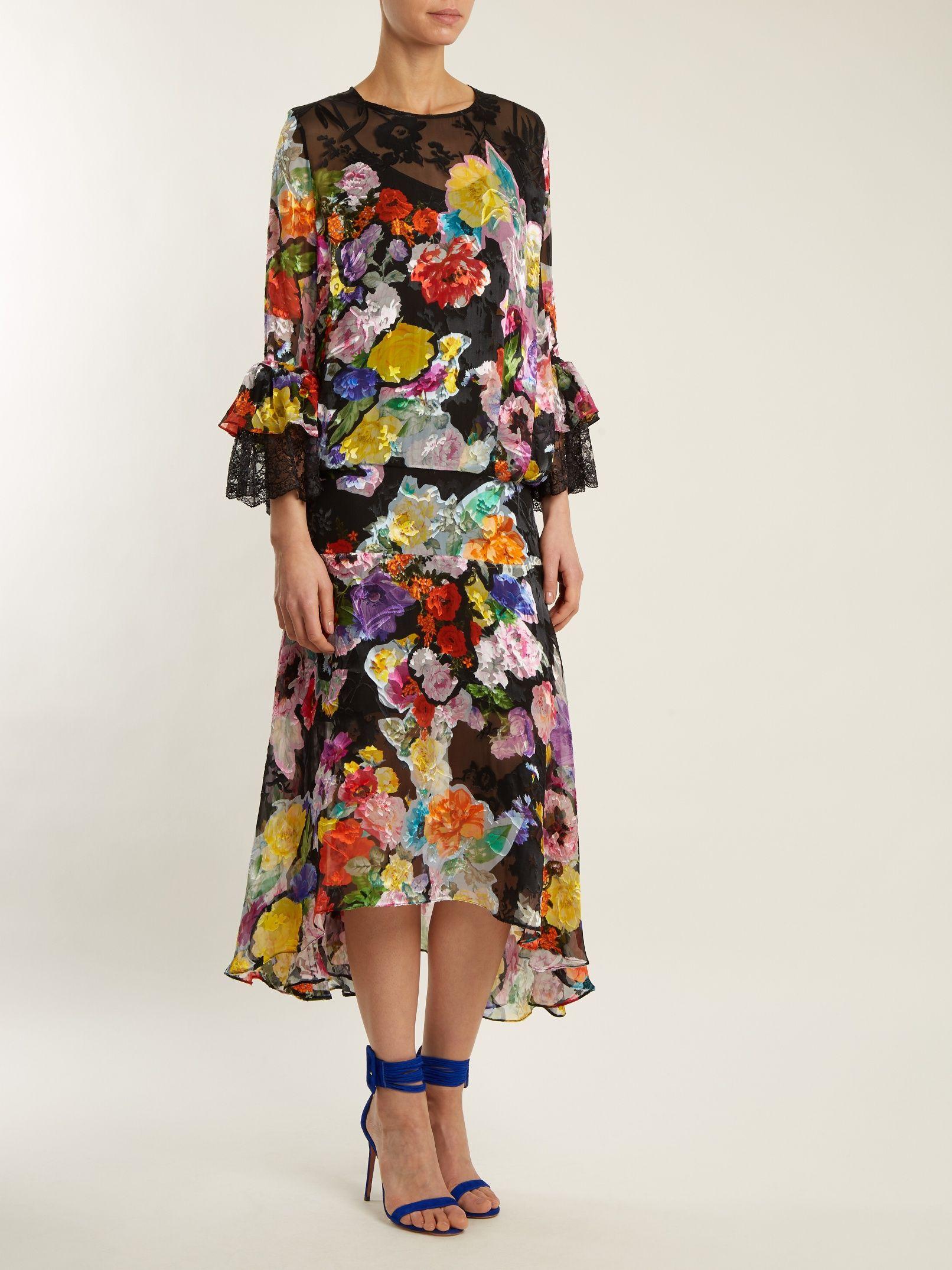 Madeleine floral-print silk-blend devoré dress Preen o49yQaTanH