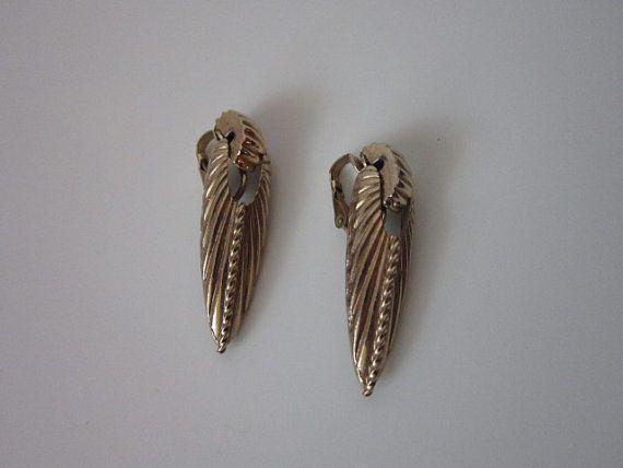 Vintage / Art Deco / Gold Tone Earrings by cocoandorange on Etsy