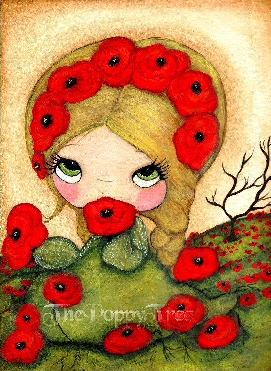 Poppy Print Bright Red Poppies Whimsical Garden Girl Wall Art ...