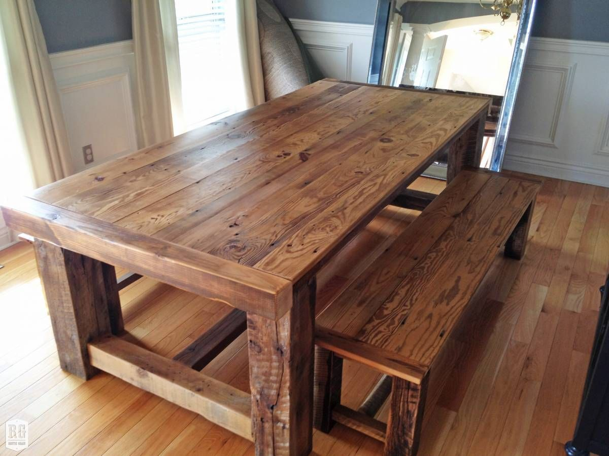 Rustic Farmhouse Dining Room Table Sets: Rustic Extension Table With Bench