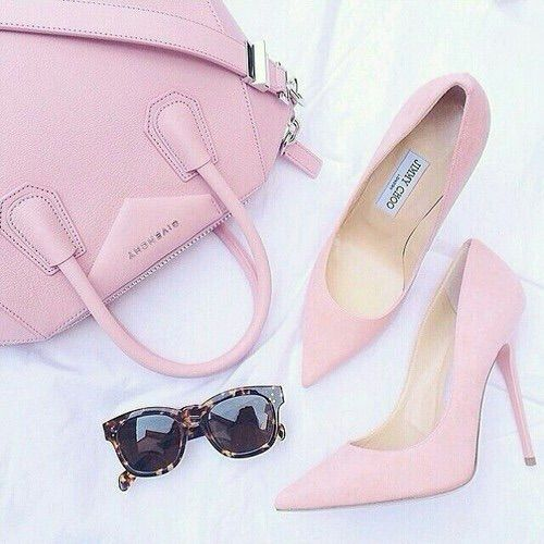 Image via We Heart It #accessories #bag #fashion #heels #JimmyChoo #lightpink #pastel #givenchy