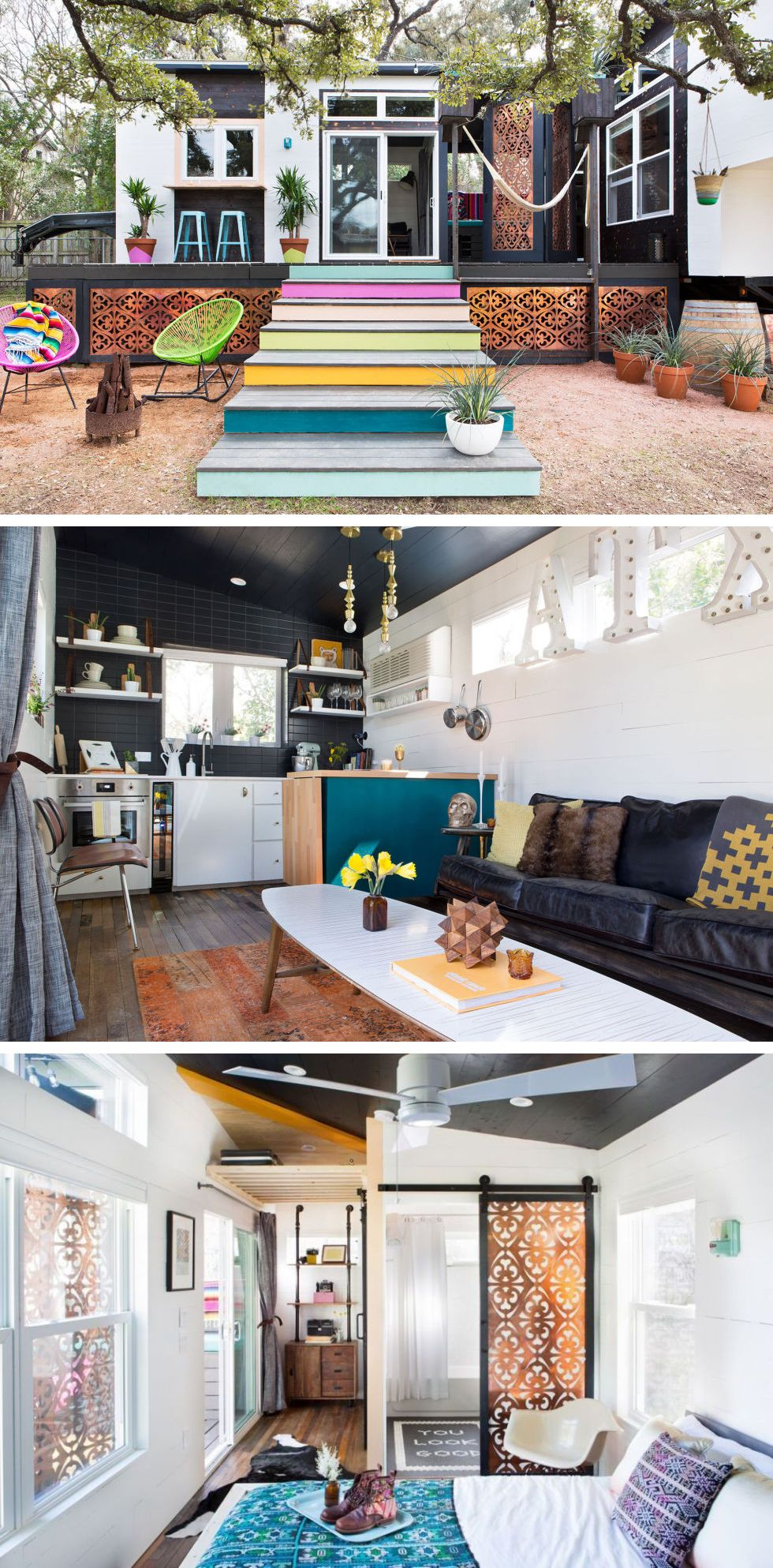 Take A Peek Inside Austins Most Colorful SquareFoot Home - Couple takes tiny house big adventure