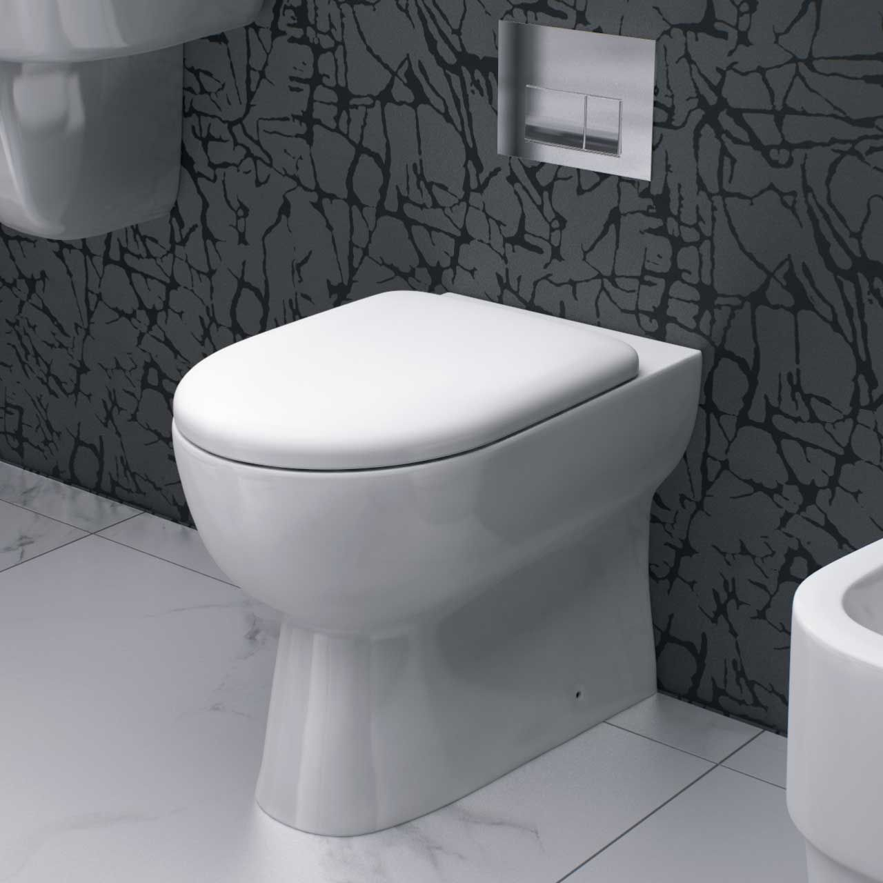 D Shape Back To Wall Toilet With Soft Close Seat Back To Wall