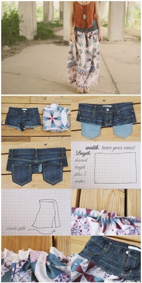 sommerrock was man aus buntem stoff und einer alten jeans alles machen kann diy sewing. Black Bedroom Furniture Sets. Home Design Ideas