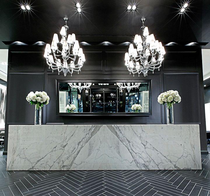 Mirror Donato Salon Spa Shops At Don Mills Toronto A R E Awards Store Design Salon Reception Desk Beauty Salon Decor Salon Interior Design