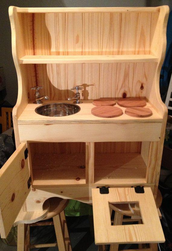 Handmade Wooden Kidu0027s Childrenu0027s Sink Range Stove Oven Cupboard Combo Wood Play  Kitchen