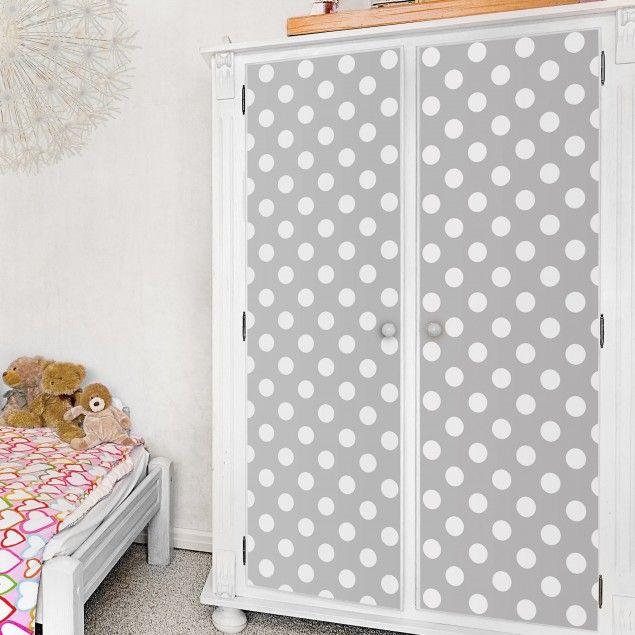 m belfolie punkte in wei auf grau klebefolie f r m bel in 2018 kinderzimmer pinterest. Black Bedroom Furniture Sets. Home Design Ideas