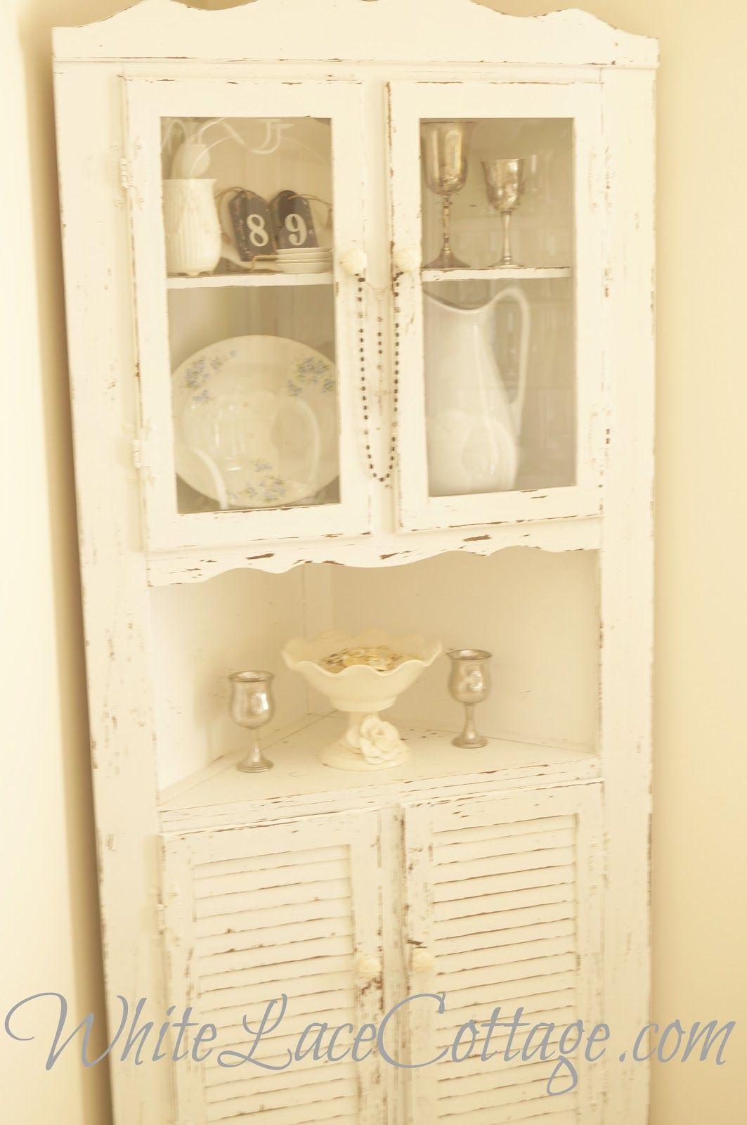 Corner Kitchen Hutch Furniture Shabby Corner Cabinet Vintage Cabinet Chippy Cabinet Corner