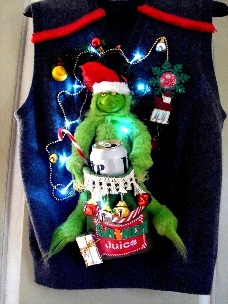 Mens Ugly Christmas Sweater Vest Beer Cozy Grinch Juice