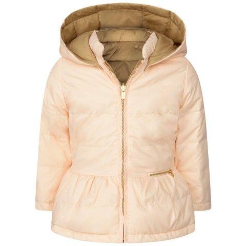 10a63d3d97 Chloe Baby Girls Pink & Beige Reversible Down Padded Coat | Chloé ...