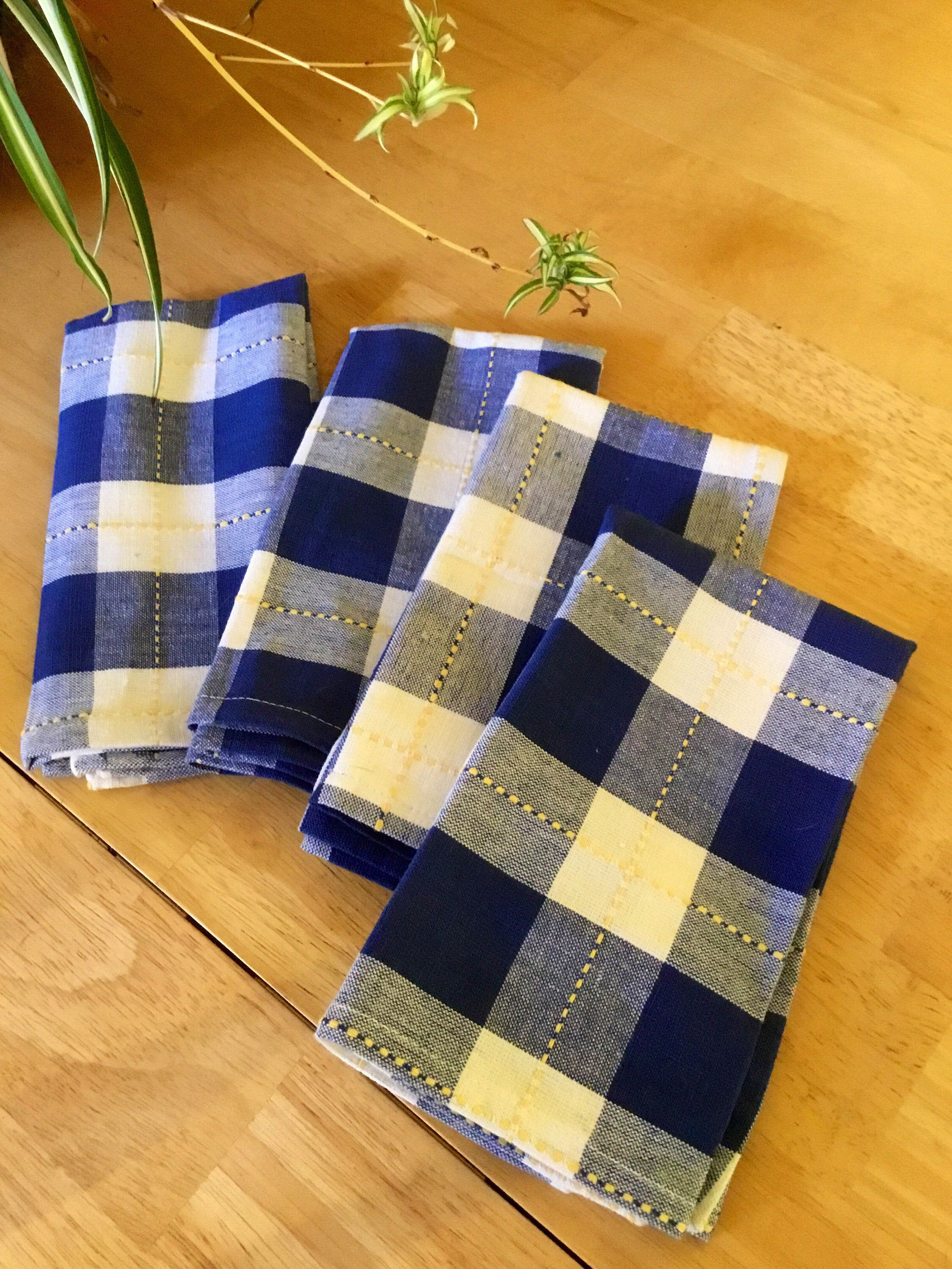 "Country Blue Plaid Cloth Napkins~Cotton Buffalo Check Napkins~17"" x 17"" Seamed Edges~(4) #clothnapkins"
