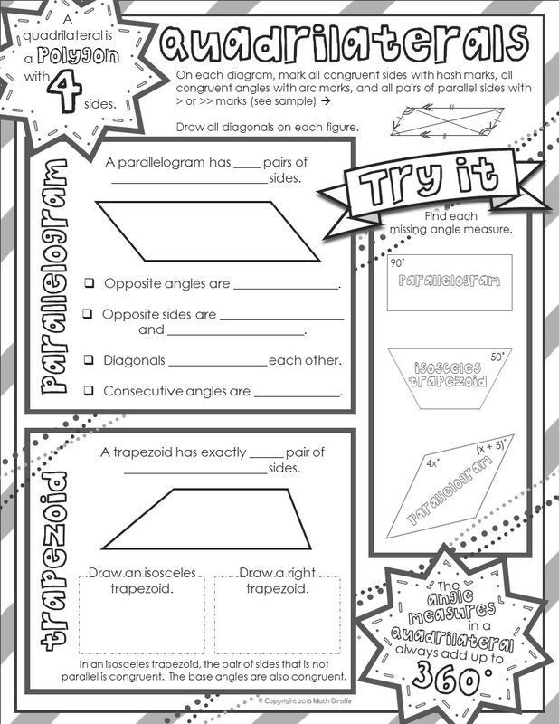Free 2 Page Download Quadrilaterals Doodle Notes For Left Right Brain Communication In Math Class Math Doodles 5th Grade Math Fifth Grade Math