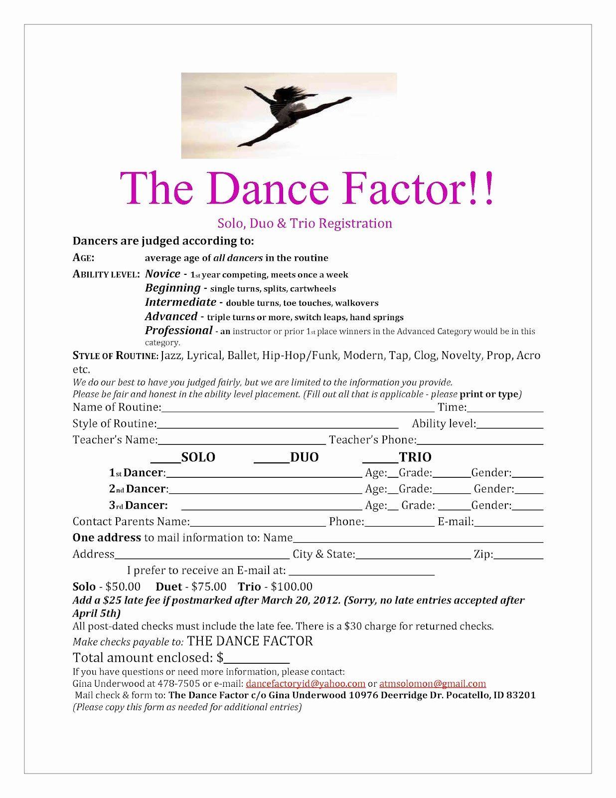 Dance Registration Form Template Elegant Eagle Rock Dance Dance Factor Solo Registration Form Registration Form Business Template Templates