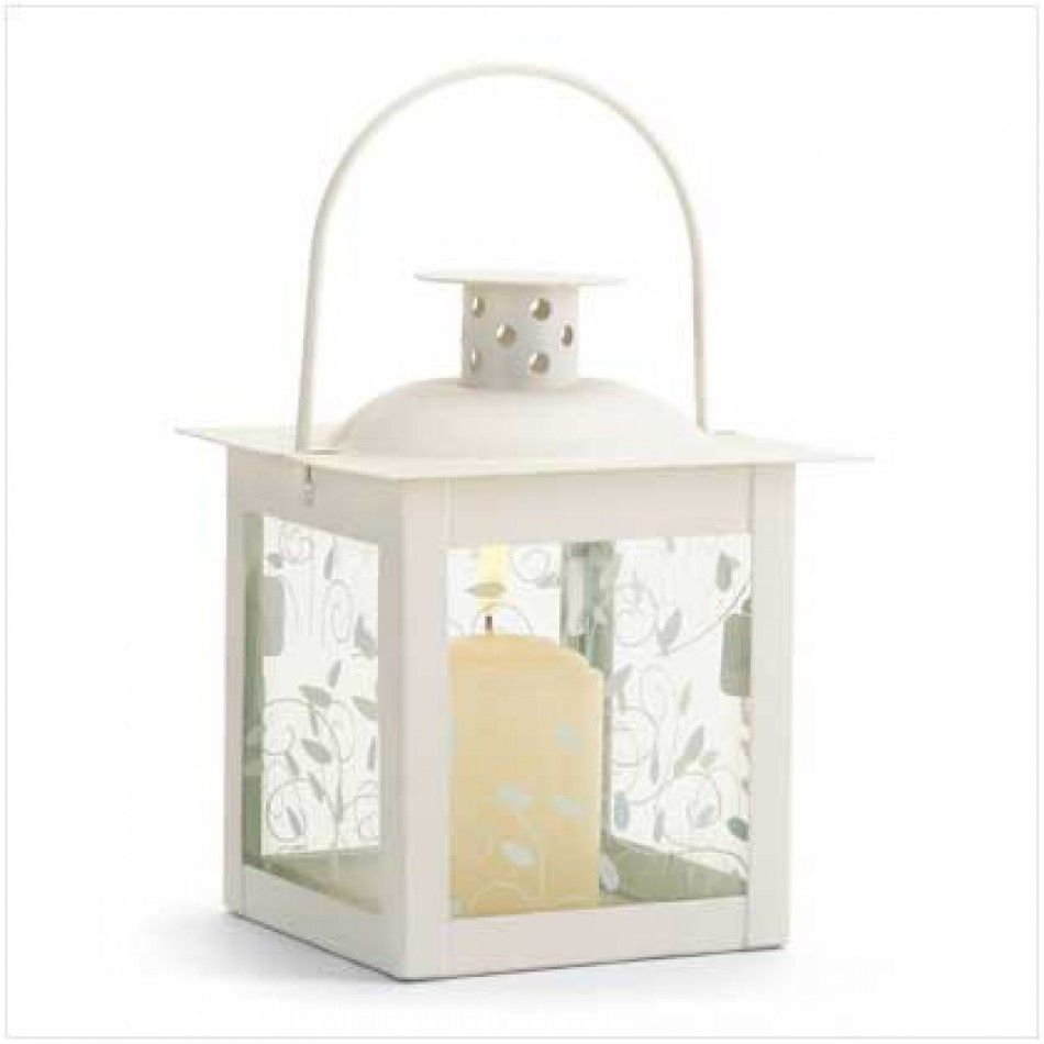 Graceful Curling Vine White Candle Lantern [37440 Small White ...