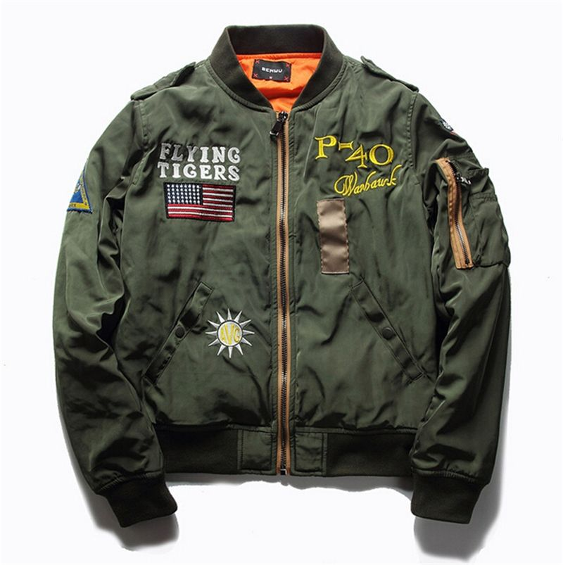 Hot Sale Mens Spring MA1 Pilot Bomber Jacket Thin Military