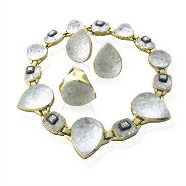 9aacf1fee46d Collares De Joyas · David Webb 18K Gold Crystal Onyx Diamond Necklace  Earrings Ring Set