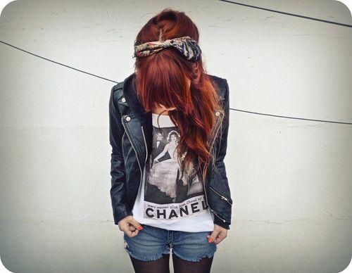 #Chanel #Fashion #Redhead #Bandana #LeatherJacket #Shorts