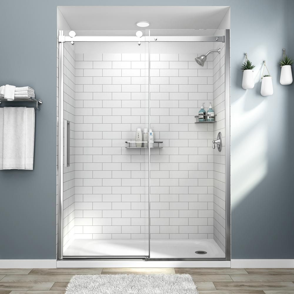 American Standard Passage 32 In X 60 In X 72 In 4 Piece Glue Up Alcove Shower Wall In White Subway Tile White Tile Shower Shower Wall Bathroom Wall Panels