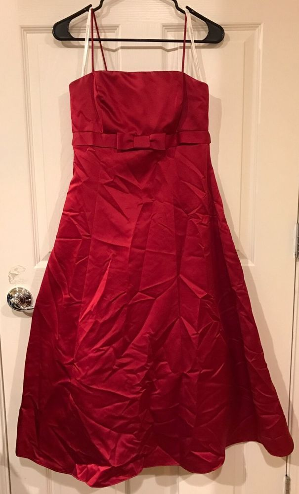 5edea5d56b Davids Bridal Sz 8 Red Satin Dress Bridal Bridesmaid Prom Empire Waist  Formal