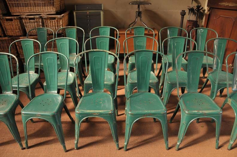 Nice A Set Of 18 Vintage Tolix A Bistro Chairs In Original Green. All The More