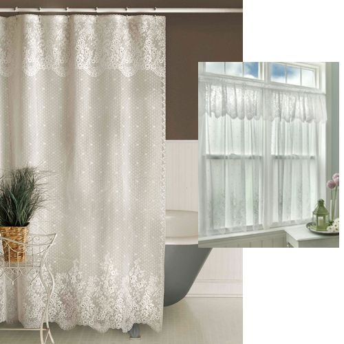 Floret Lace Shower Curtain - White <3 for bathroom! | All Things ...