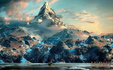 Approach to Erebor (Lonely Mountain) via Long Lake (from The Hobbit, DoS, New Line Cinema, 2013)