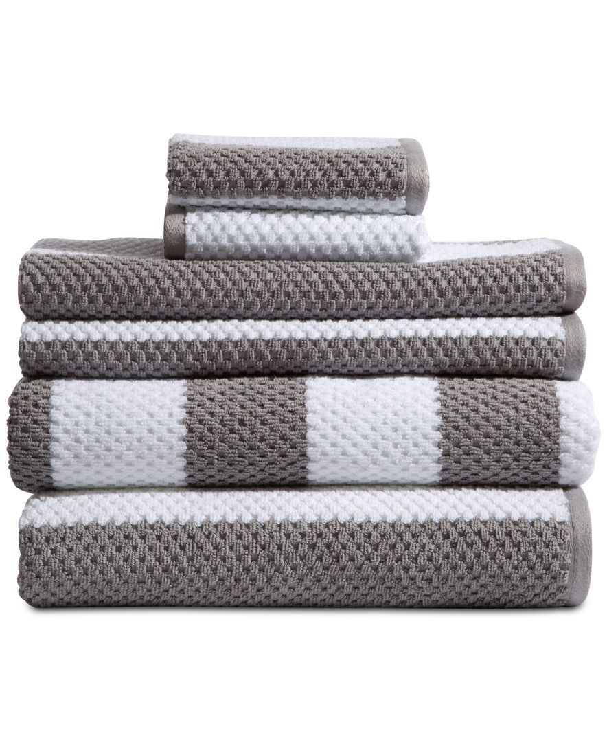Caro Home Rugby Cotton 6 Pc Textured Stripe Towel Set Reviews