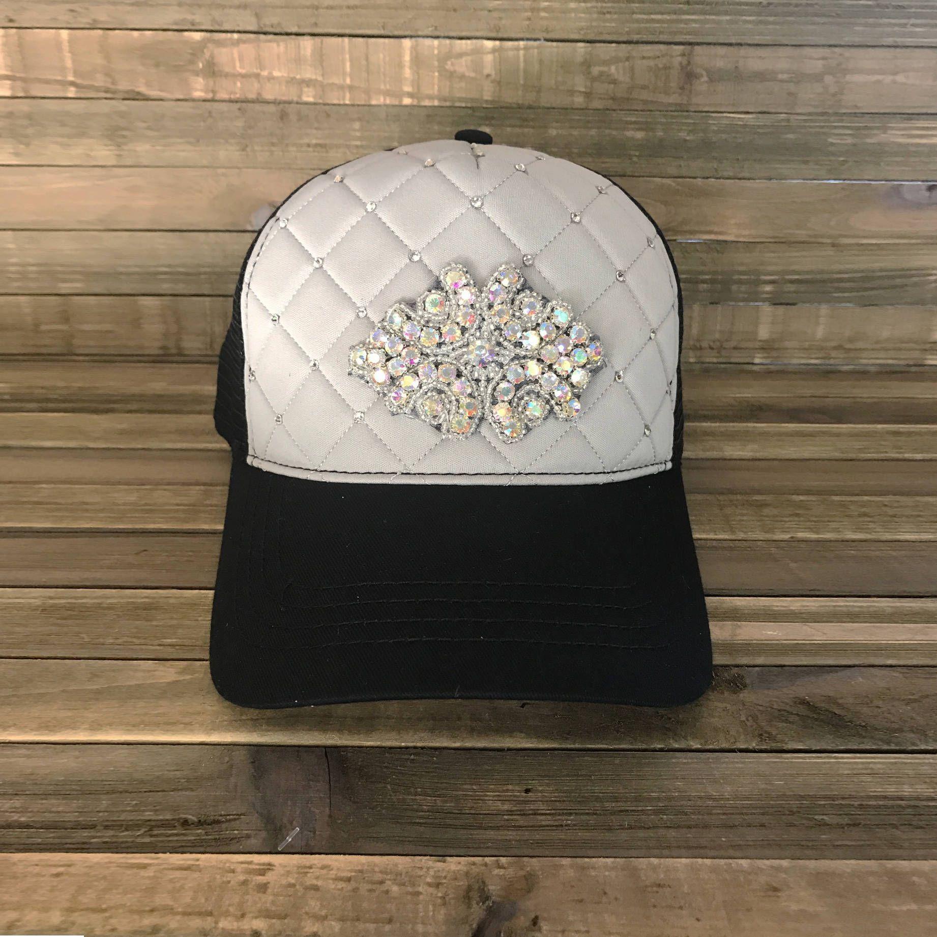 2b27a818 Gray Trucker Hat, Trucker Caps, Rhinetone Hats, Rhinestone Caps, Gray Trucker  Caps, Quilted Hats, Quilted Trucker Hat, Gray Rhinestone Hat by ...