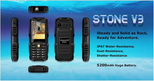 Rp 540000 Vkworld Stone V3 5200mAh Tahan Air Tahan Debu Tahan Jatuh Dual SIM Mobile Phone , amazing phone for outdoor activity