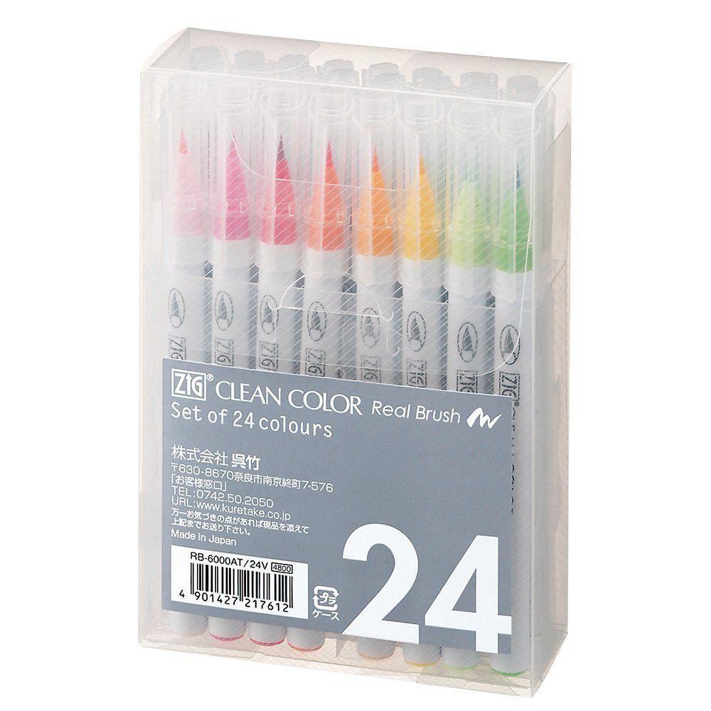 Kuretake Zig Clean Color Real Brush Pen 24 Color Set