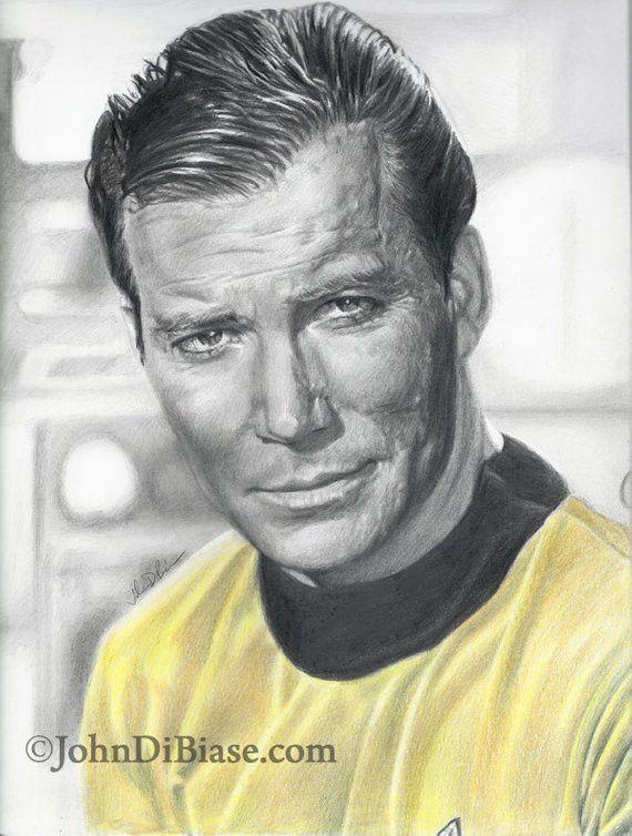 William Shatner as Captain Kirk in Star Trek Drawing Print | Etsy