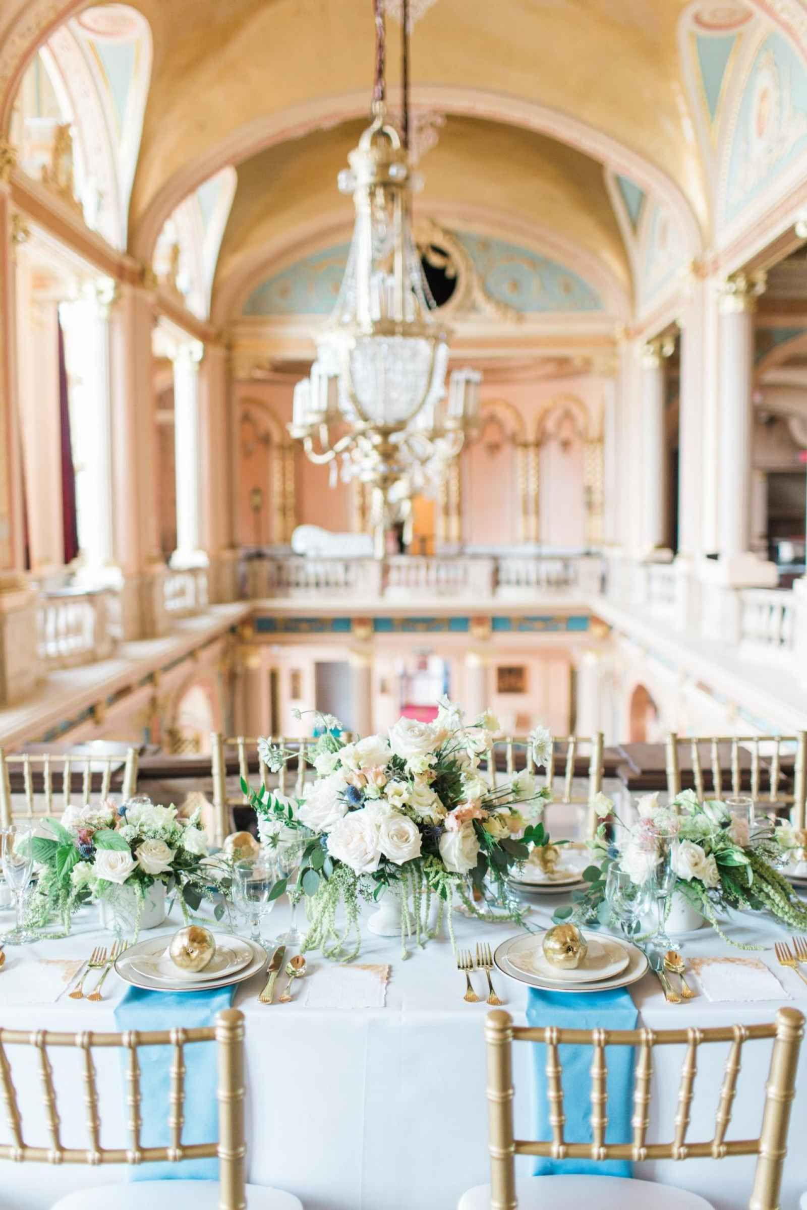 Elegant Wedding Reception Tablescape In Historic Theatre A Vow