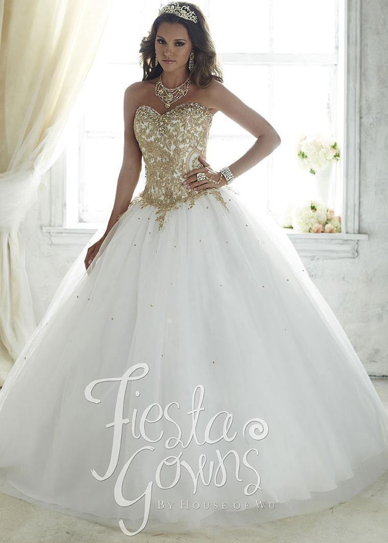 da916e774d4 Fiesta 56286 Elegant Gold Embroidered Quinceanera Gown