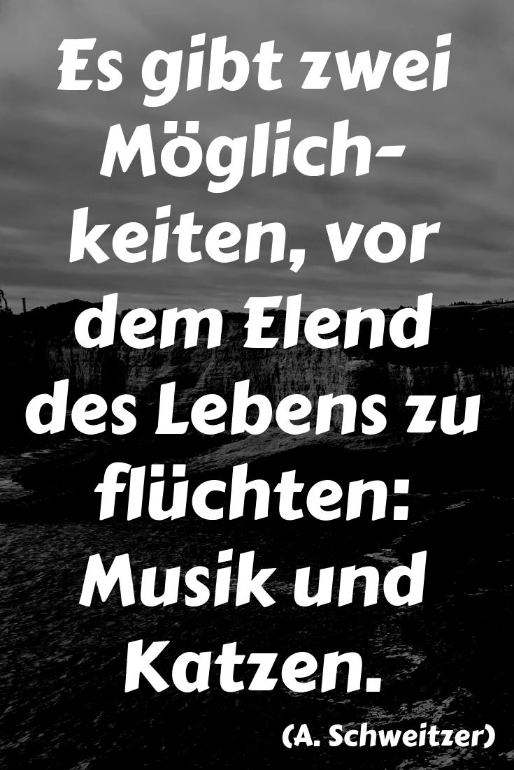 Es Gibt Zwei Moglichkeiten Vor Dem Elend Des Lebens Zu Fluchten Musik Und Katzen A Schweitzer Albert Einstein Zitate Schlaue Spruche Spruche Zitate
