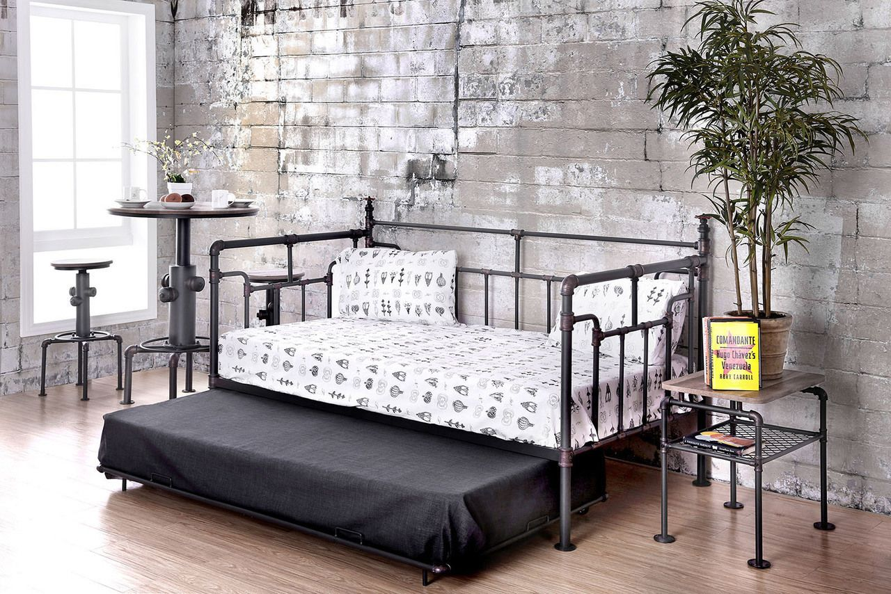 Shop The Industrial Pipe Like Antique Black Daybed With Trundle Piping Style Replicated