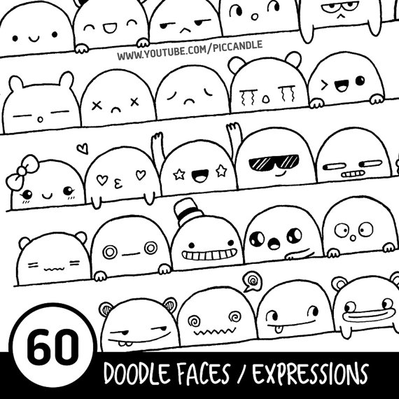 60 Cute Doodle Faces / Expressions Printable Practice by