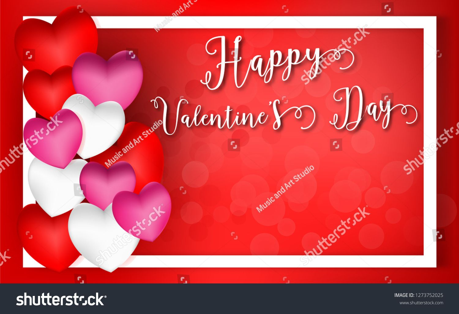 Valentines Day Concept 3d Red Pink White Hearts And Happy Valentine Day Text Background Clip Art Design For G Happy Valentines Day Valentines Happy Valentine