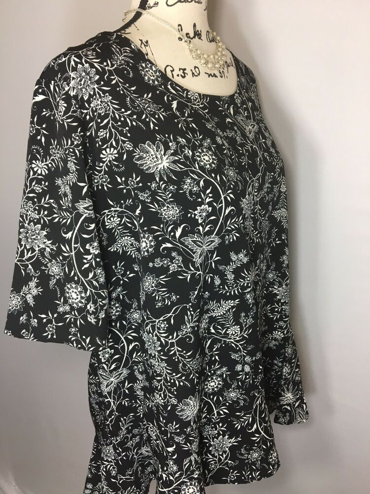 ee217b298fe126 New Time and Tru Womens Ruffle Peplum Top Blouse Size Large Floral Black  #fashion #