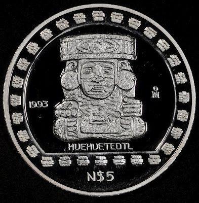 Mexico Silver Commemorative Coin Pesos Huehueteotl Silver Coins Commemorative Coins Coins