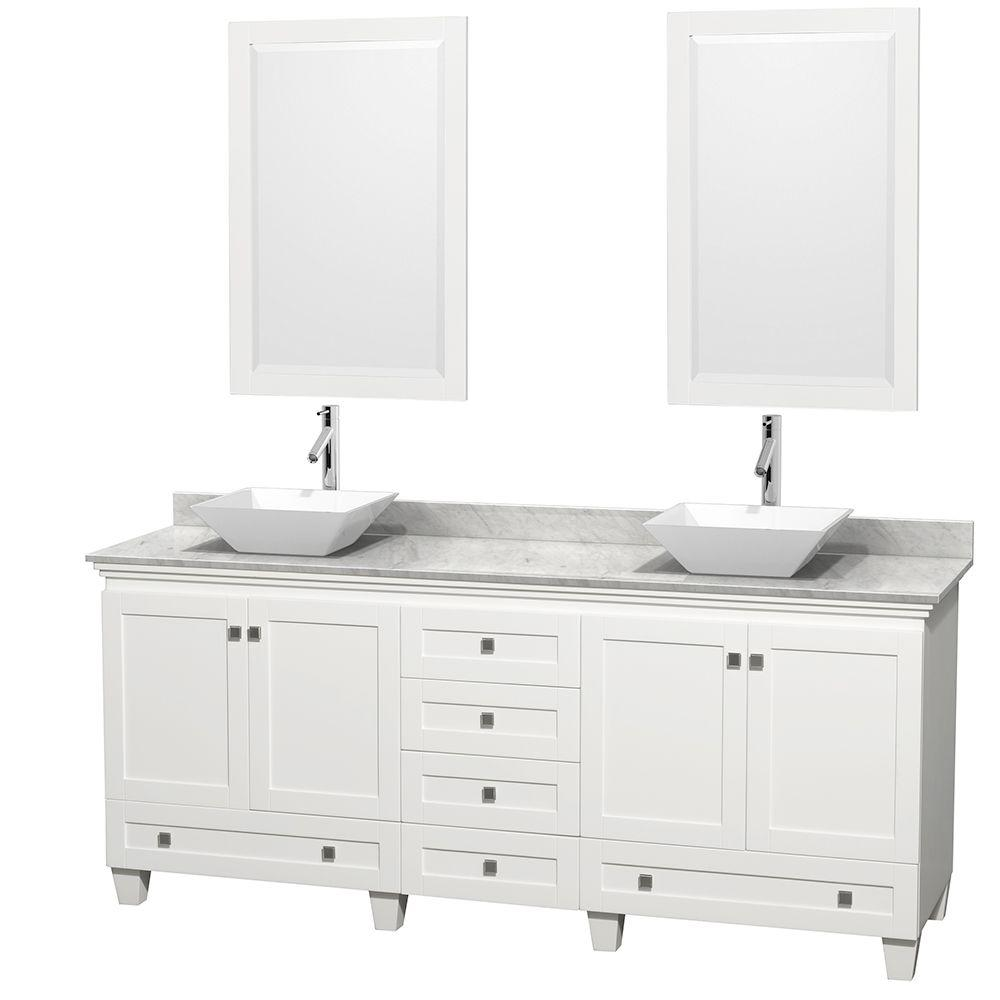Wyndham Collection Acclaim 80 In W Double Vanity In White With