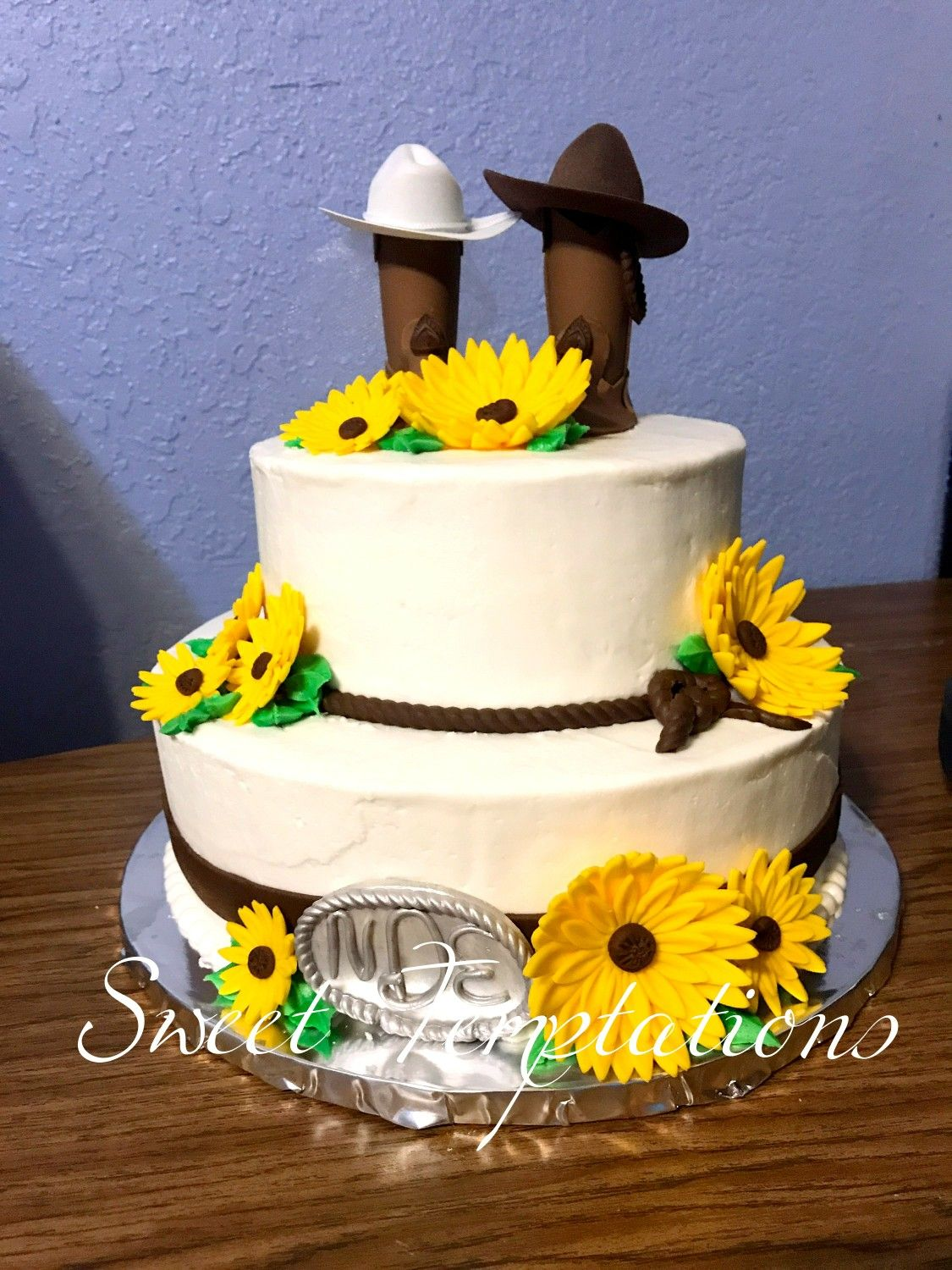 sunflowers boots bridal shower cake